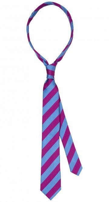 Blauw paars gestreepte 100% zijde stropdas