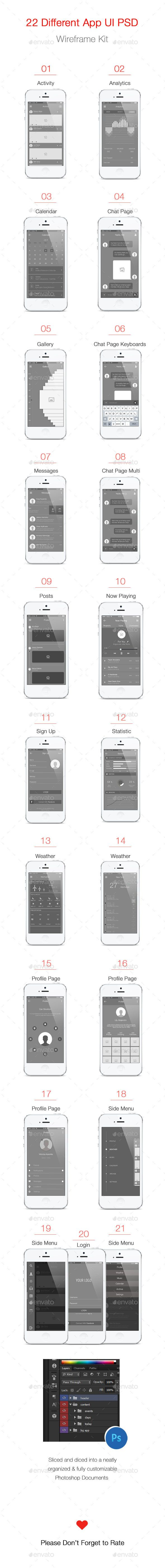 Mobile App Wireframe User Interface Kit Template PSD #design #ui Download: http://graphicriver.net/item/mobile-app-wireframe-ui-kit/13367683?ref=ksioks