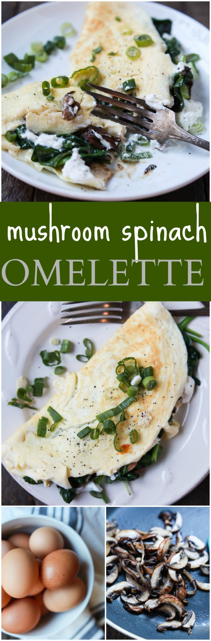 Mushroom Spinach Omelette Recipe - the perfect protein packed breakfast that totally delivers on flavor. Filled with nutritious vegetables, creamy goat cheese, and egg whites for a easy healthy breakfast! | joyfulhealthyeats.com