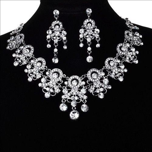 Серебряный новобрачных кристалл горный хрусталь свадьбы ожерелье и серьги ювелирные комплект женская ювелирные изделия винтаж кристалл кулон аксессуары