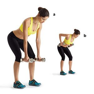 Bent-over row: Hold a pair of dumbbells at your sides, bend your knees slightly, push your hips back, and lean forward, keeping your back flat and core tight (a). Slowly bend your elbows, keeping them close to your body, to pull the dumbbells to your sides (b). Pause, then slowly lower back to start. That's one rep.