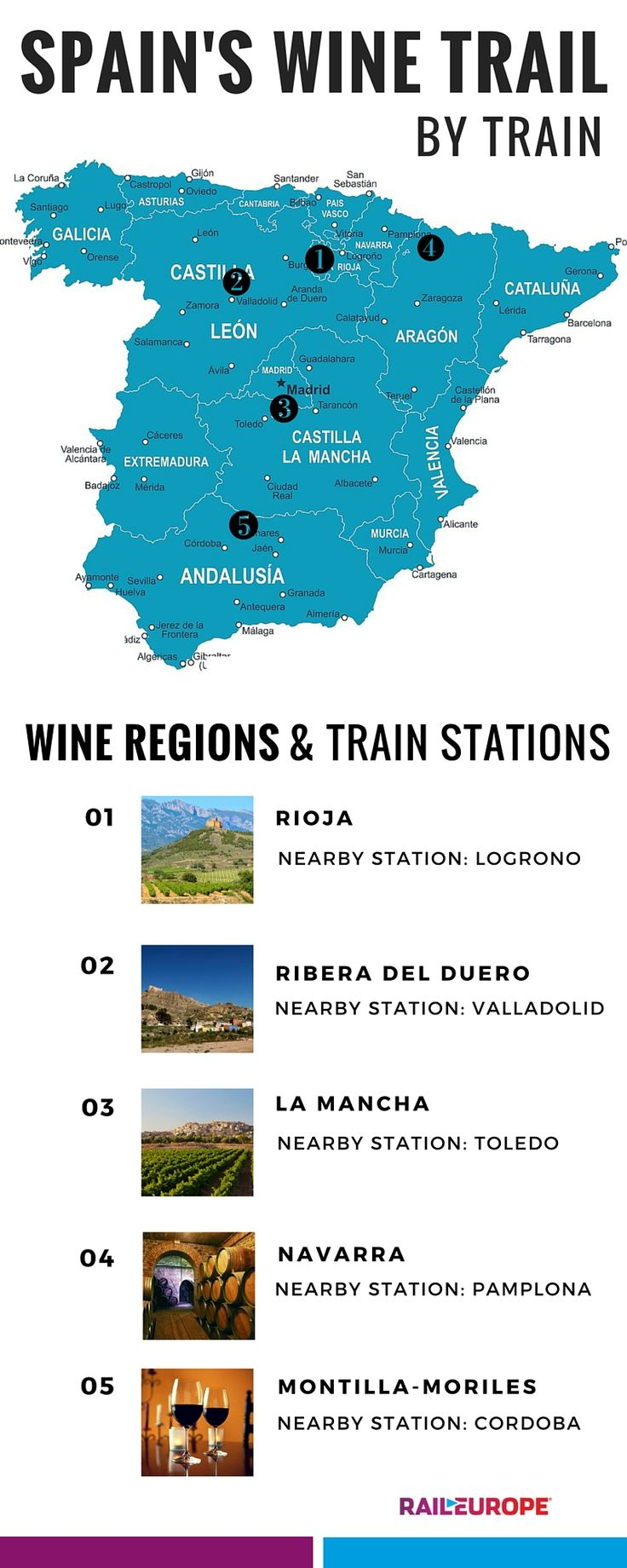 Ever wanted to take a wine trip through #Spain? Here are some of the best Spanish #wine regions and nearby train stations