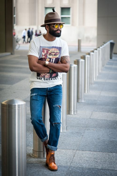 menstyle1:  T-Shirt- H&M Shoes- Call it Spring Shades-Steampunk Black Revo Pants-hollister Watch- Burberry Hat- Big it up