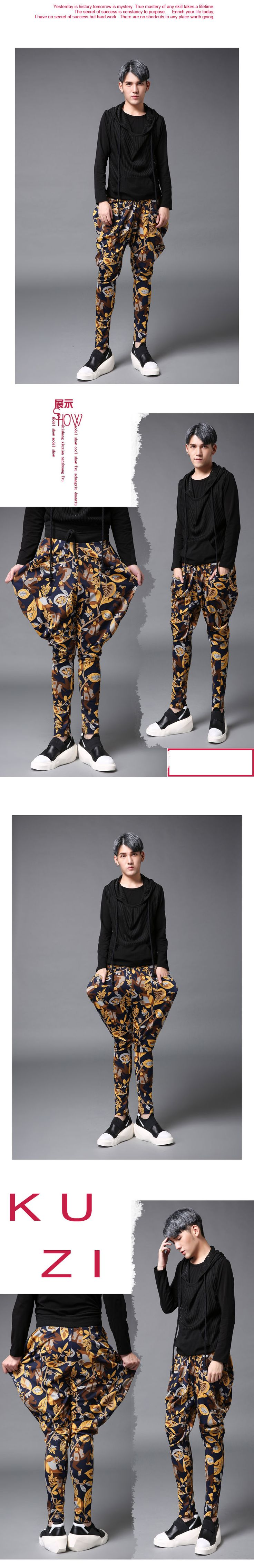 Autumn slim printing males's winter pants ft pants harem