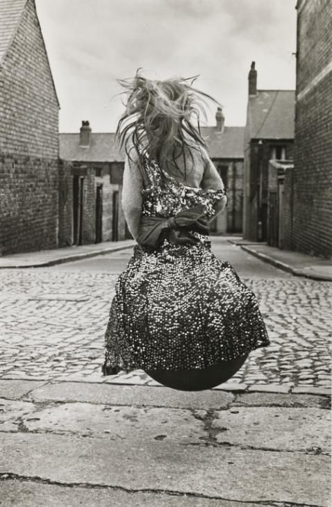 Photo taken by Sirkka-Liisa Konttinen called Girl on a Spacehopper (Byker) taken in 1971.  Part of the Tate Modern collection of photographs.