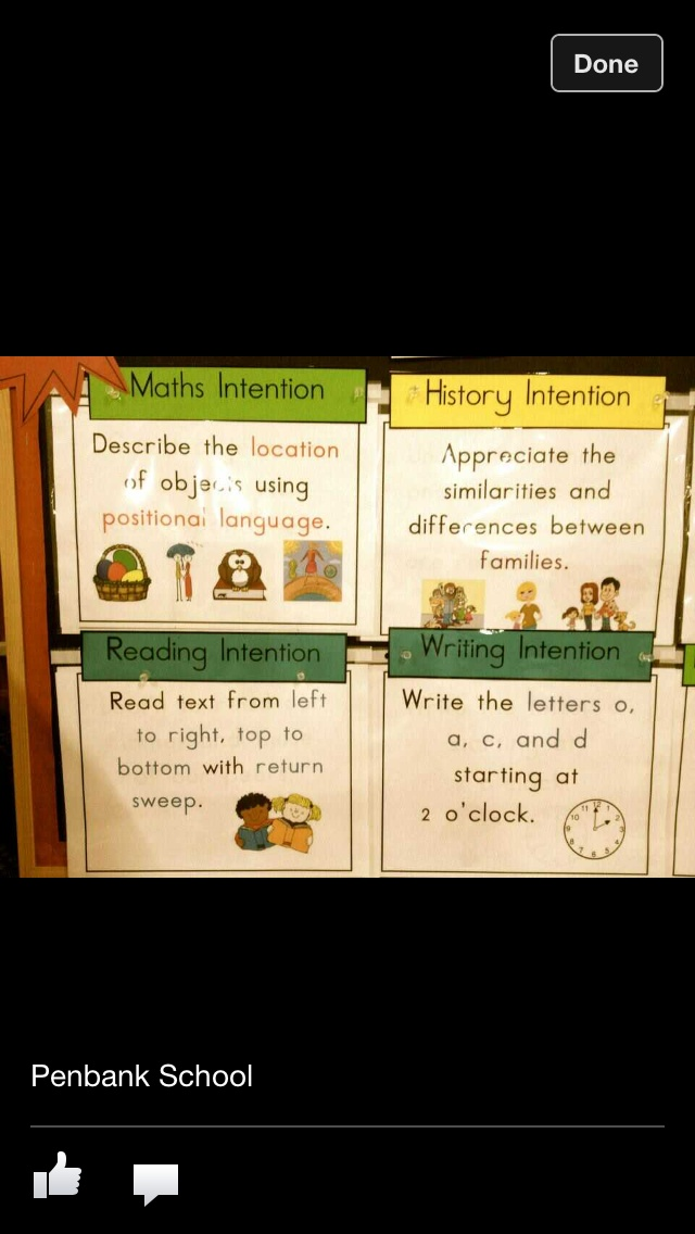 Learning intentions displayed in the classroom. From Walker Learning Approach.