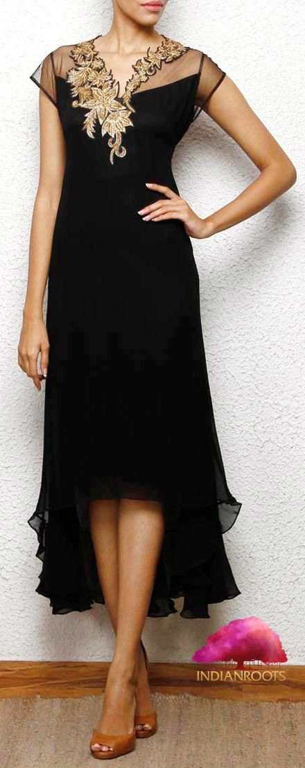 Black Georgette Dress from Aneehka by Anika C at Indianroots.com