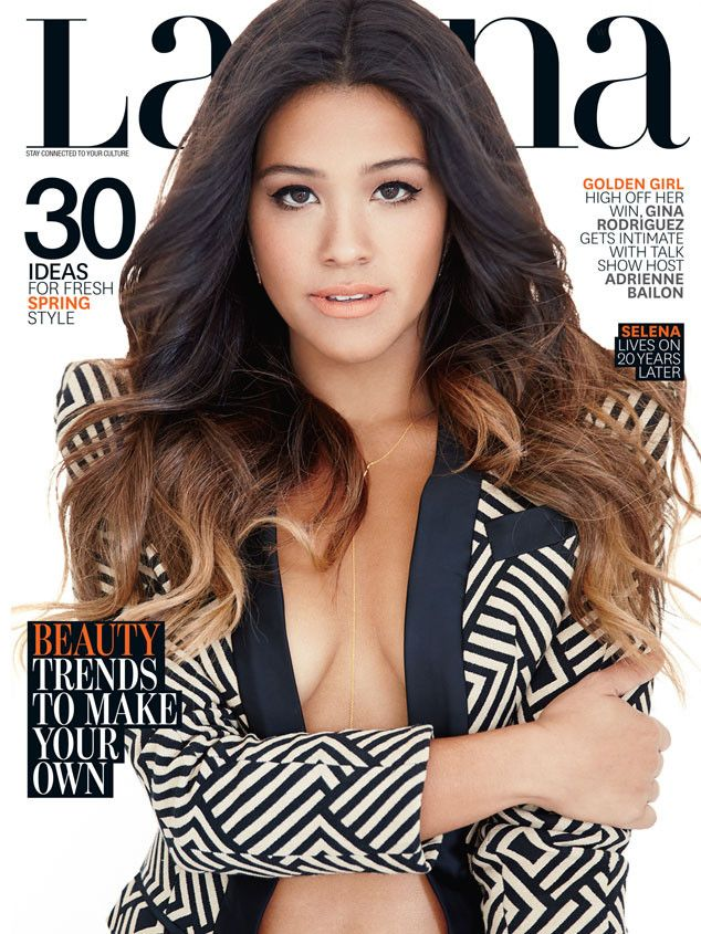 """Braless Gina Rodriguez Flaunts Sexy Curves for Latina, Confirms, """"This Body Type Does Well in the Real World!""""  Gina Rodriguez, Latina Magazine"""