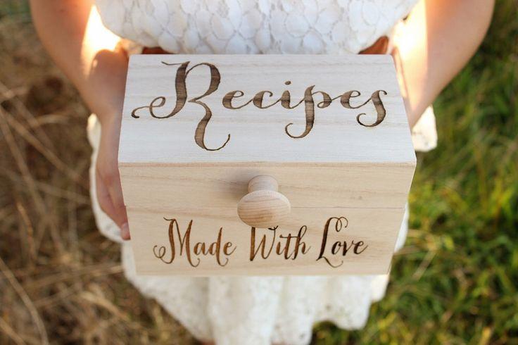 Recipe Box Wood Recipe Box Rustic Recipe Box Mothers Day Gift Bridal Shower Gift…