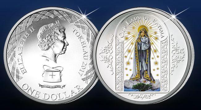 100. výročie zjavenia Panny Márie vo Fatime  Oficiálna minca zušľachtená čistým striebrom