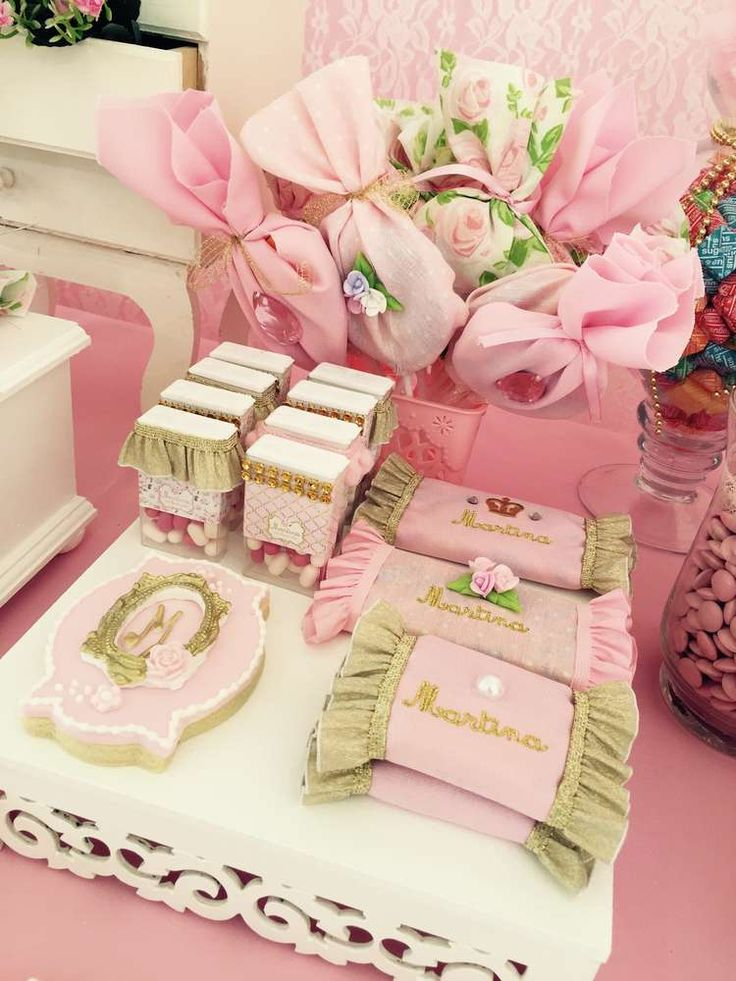 Pink cookies and candy at a fairy shabby chic birthday party! See more party ideas at CatchMyParty.com!