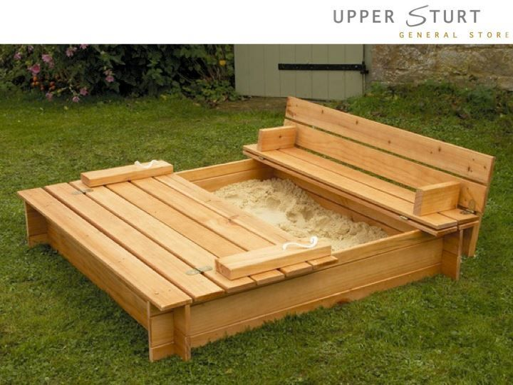 Sandbox cover turns into benches summer treats and for Sandbox with built in seats plans