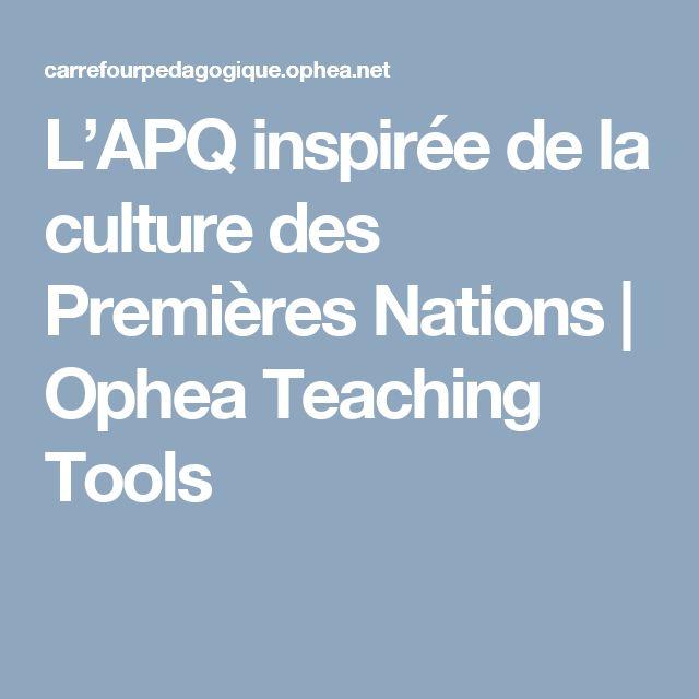 L'APQ inspirée de la culture des Premières Nations | Ophea Teaching Tools