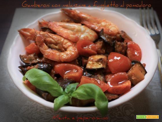Gamberoni con melanzane a funghetto al pomodoro  #ricette #food #recipes