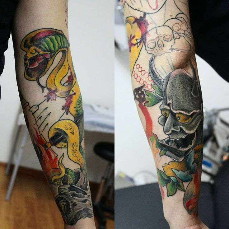 #Неотрад - #япония #рукав. Пару сеансов, и готов. #neotraditional and #oriental #sleeve #inprogress #tattoo #ink #snaketattoo #hannyamask #skulltattoo #тату #татуировка #rtats