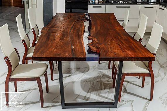 Live Edge Dining Table Wood Epoxy Modern Farmhouse In 2019 Pinterest And
