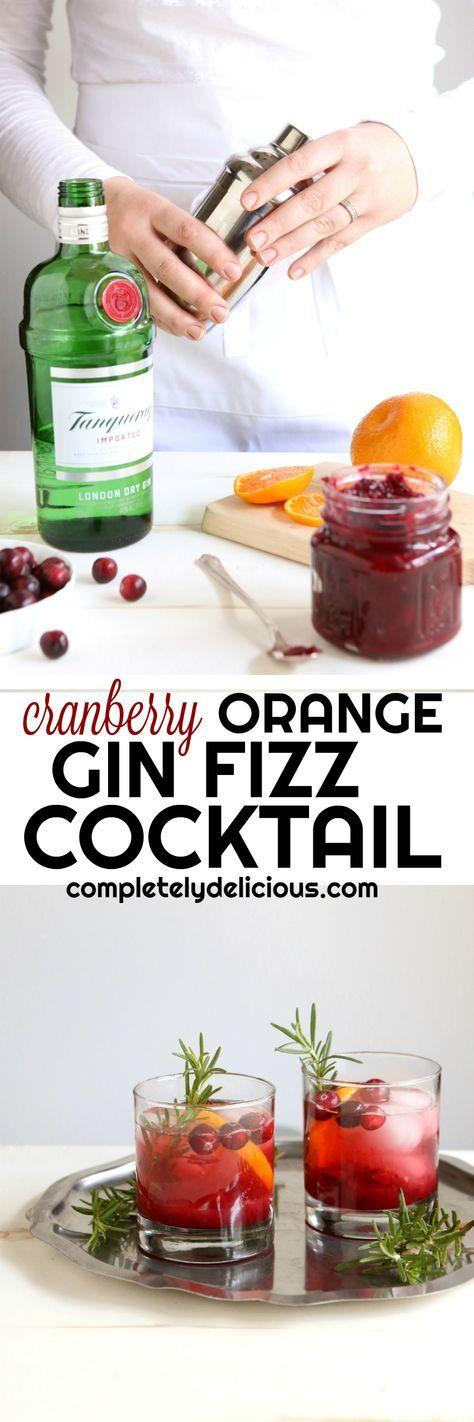 Cranberry Orange Gin Fizz Cocktail