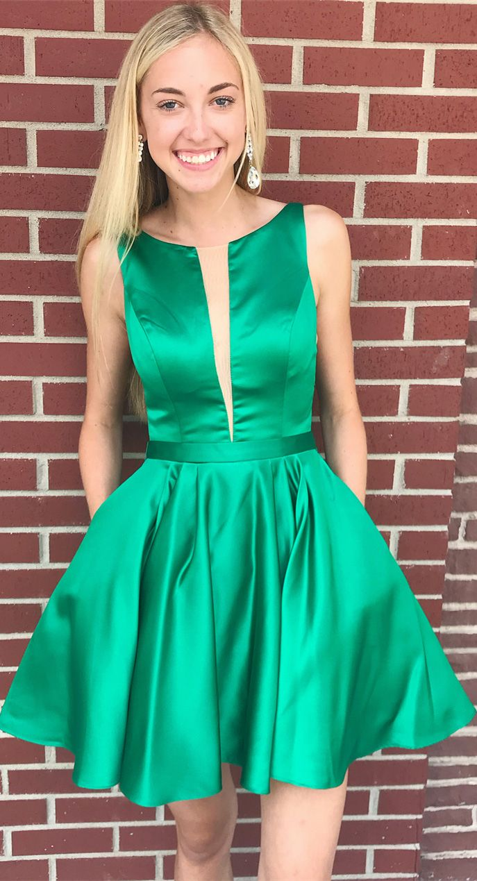 Simple mini green homecoming dresses cheap a line junior homecoming