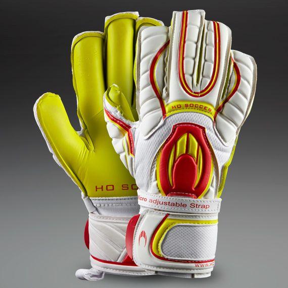 wilf         Junior HO Goalkeeper Gloves - HO Ghotta Roll - Kids Goalie Gloves - Goalkeeping - White - Red - Lime