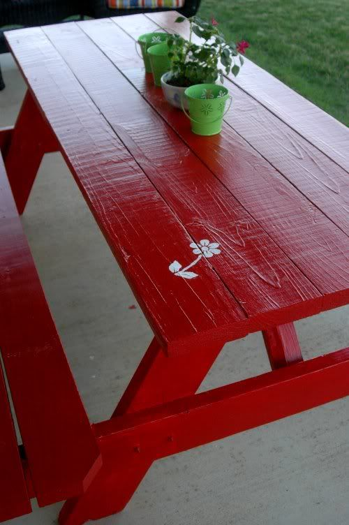 Red picnic table......aha.... now I know just exactly what to do with our old weathered picnic table.