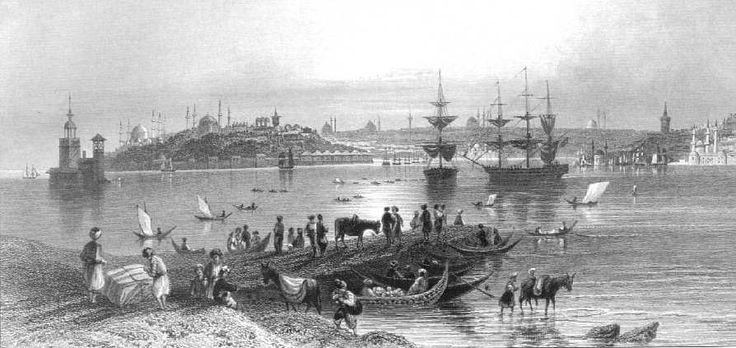 Salacak sahilinden genel İstanbul görünümü -  A View from the ferry of Scutari - Miss Pardoe, 'The Beauties of the Bosphorus',  Londra 1838. Çelikbaskı.  William H. Bartlett