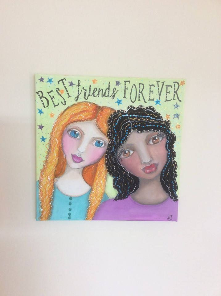 Two Best Friends Forever one dark skin girl and one light skin girl.  OOAK gift for teen or child or anyone who has a BBF.  Original art by HomeofWhimsy on Etsy