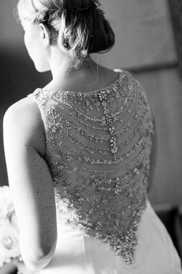 Stunning beaded back wedding dress (Sarah Tew Photography)