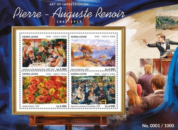 SRL15401a Pierre Auguste Renoir (Luncheon of the Boating Party, 1880-1881, View at Guernsey, 1883, Armful of Roses, 1918, Dance at Le moulin de la Galette, 1876)