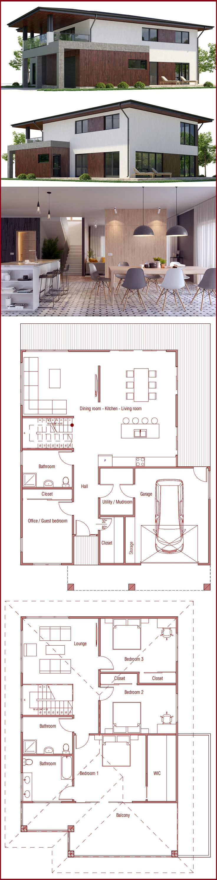 Re configure this. Add master & bath on other side of garage, door from garage to kitchen. And 1/2 bath in utility. Remove 2nd floor. House Plan