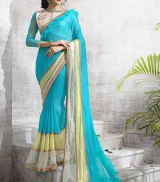 Buy sky_blue plain shimmer saree With Blouse shimmer-saree online