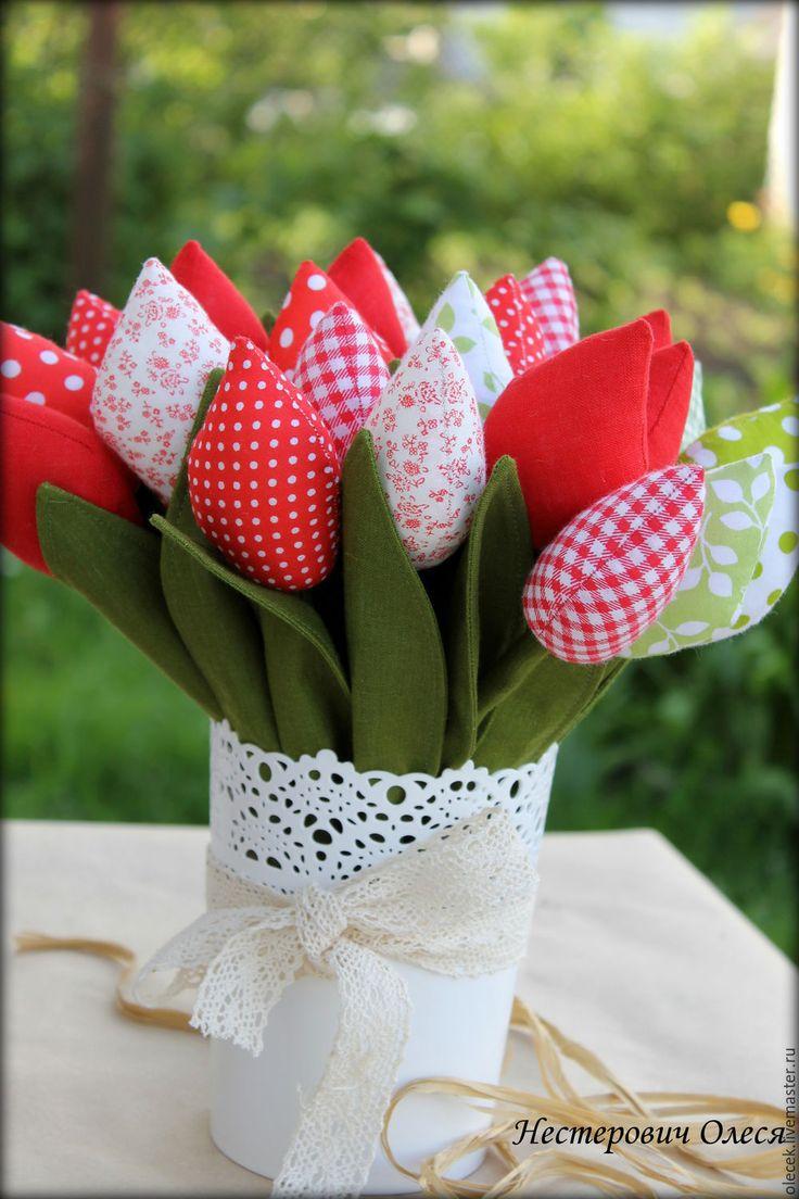 Купить Тюльпаны - ярко-красный, тюльпаны, тюльпаны из ткани, тюльпаны тильда, цветы из ткани