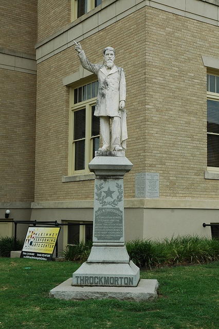 Statue of James W. Throckmorton outside the original Collin County Courthouse in downtown McKinney, Texas.