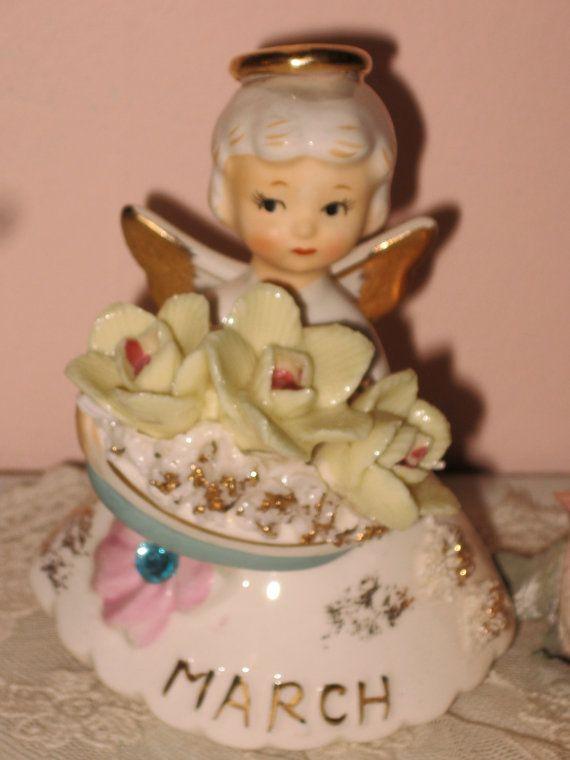 Lefton birthday Angel Figurine March Aquamrine by Fannypippin,