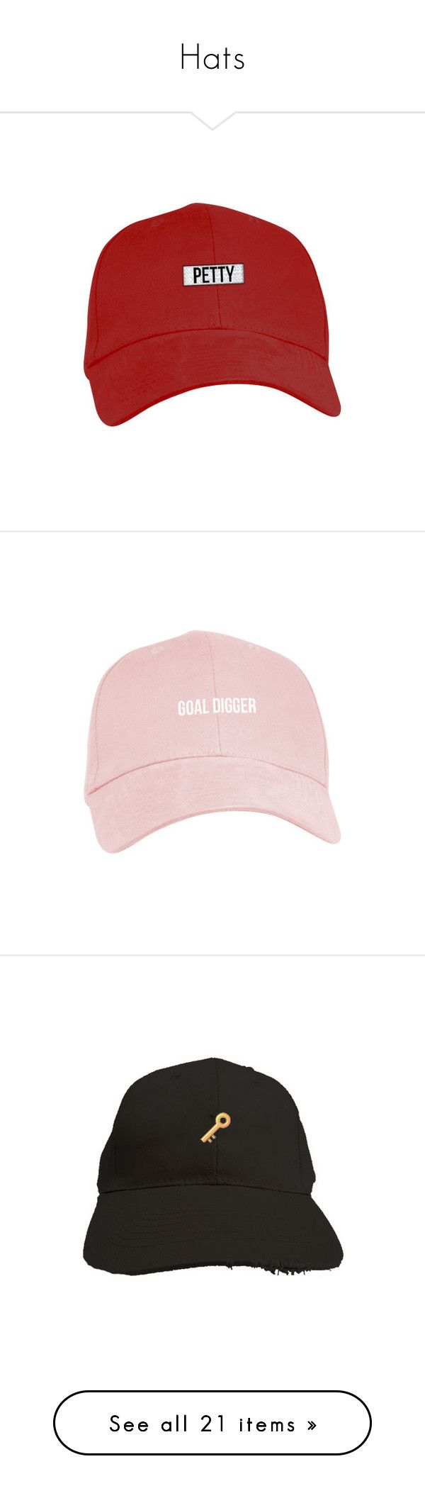 """""""Hats"""" by lexiesocrazy ❤ liked on Polyvore featuring accessories, hats, crown hat, baseball hats, six panel hat, 6 panel hat, embroidery hats, distressed baseball cap, embroidered baseball hats and distressed hat"""