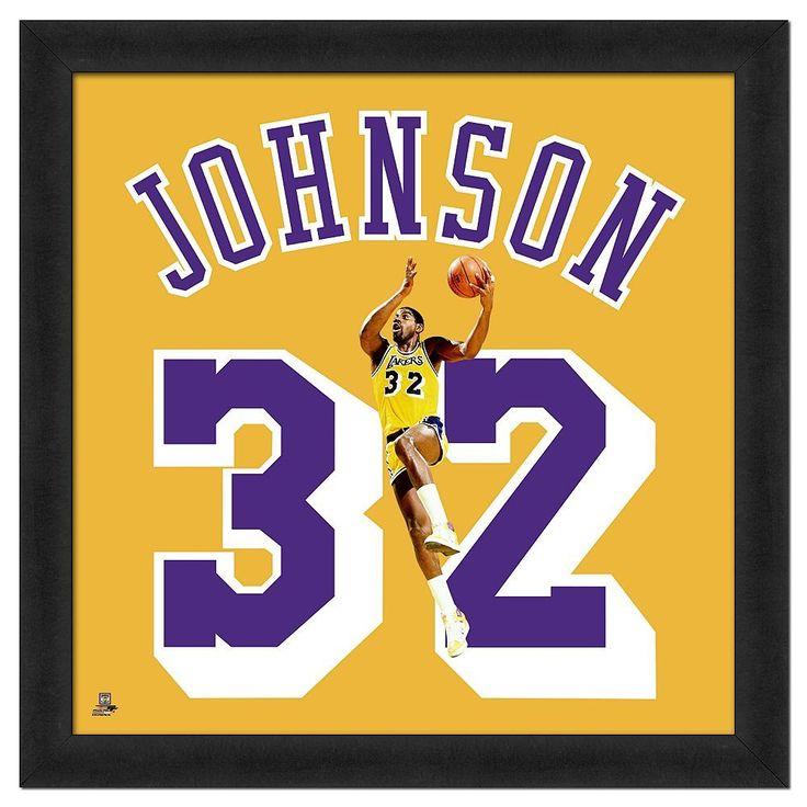 Magic Johnson Framed Jersey Photo, Multicolor