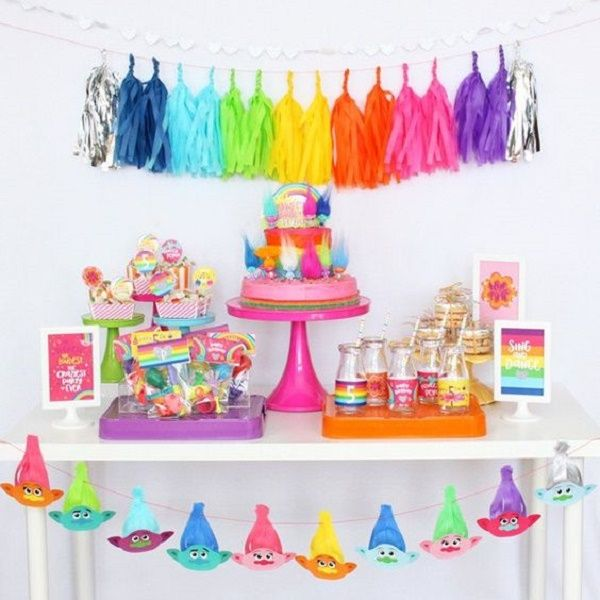 Trolls Birthday Party Decoration Ideas That Are Surely Easy And Manageable Since Poppy Loves Rainbows