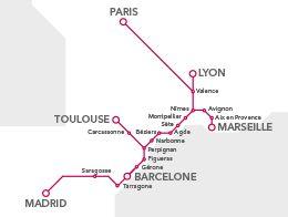 Carte des trajets en train - TGV  France - Espagne