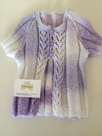 Irish HandMade Knitted Waistcoat, Purple, White Girls 4-7yrs by TheCraftyShamrock on Etsy