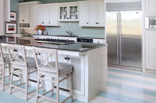 House of Turquoise: Wythe BlueDecor, Kitchens Colors, Kitchens Design, Beach House, Stripes Floors, Blue Wall, Painting Floors, Toby Fairley, White Kitchens