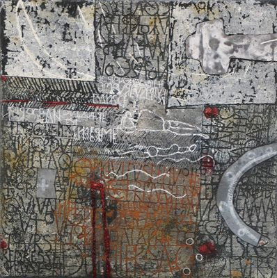 Walter Rast, Dance Ce Noir Océan, 2008. Mixed media on canvas. 50cm H x 50cm W.