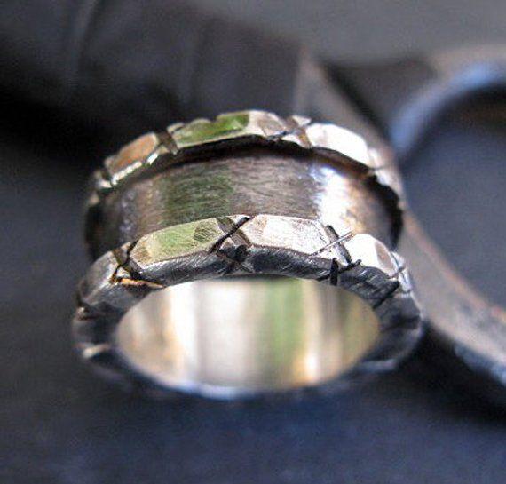 Mens Wedding Band 10mm Mens Wedding Ring Mens Wedding Band Rustic Black Ring Unique Wedding Band Viking Wedding Ring Mens Engagement Ring Wedding Men Wedding Bands Wedding Rings