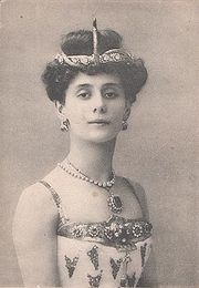 Photographic postcard of Anna Pavlova as the Princess Aspicia in the Petipa/Pugni The Pharaoh's Daughter, Saint Petersburg, c. 1910