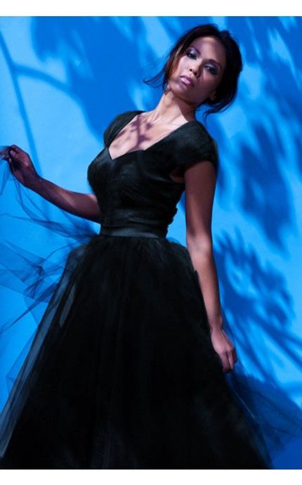 lesley-anne dress in black with black tulle (laura byrnes)
