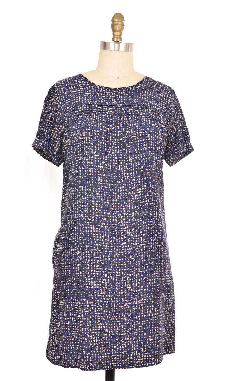 J Crew Blue Spot Pattern Dress Size 8 | ClosetDash #jcrew #blue #pattern #dress #shortsleeve #shopforacause #bottomlesscloset #fashion #style