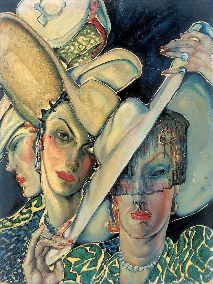"""Hatted Women"", by Gyula Batthyány (1887-1959)"