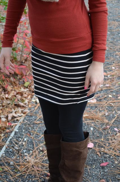Mini Skirt with leggings and boots. Comfy! Might be the only way I am willing to wear a skirt like this!