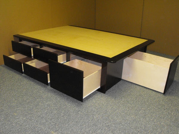 Platform Bed, look at all of that storage