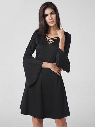 Casual Women Hollow Long Horn Sleeve Patchwork Pure Color Dress at Banggood