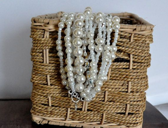 Chunky Bold Weddings  Pearl Bracelet  with Rhinestones by kirevi8, $72.00