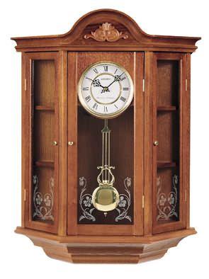 Elegant Dark Brown Solid Oak Curio Wall Clock Has